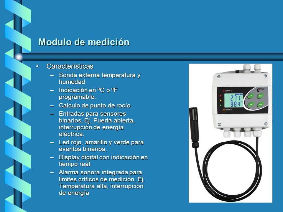 Modulo de medición CaracterísticasCaracterísticas –Sonda externa temperatura y humedad –Indicación en ºC o ºF programable. –Calculo de punto de rocío.