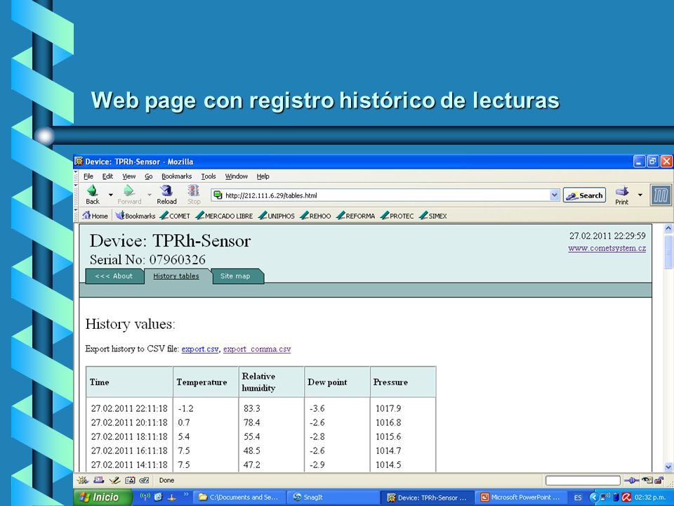 Web page con registro histórico de lecturas