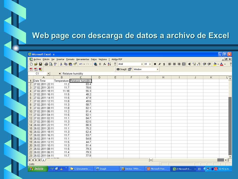 Web page con descarga de datos a archivo de Excel
