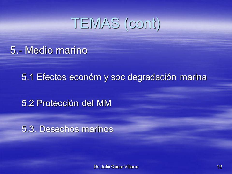 Dr. Julio César Villano12 TEMAS (cont) 5.- Medio marino 5.1 Efectos económ y soc degradación marina 5.2 Protección del MM 5.3. Desechos marinos