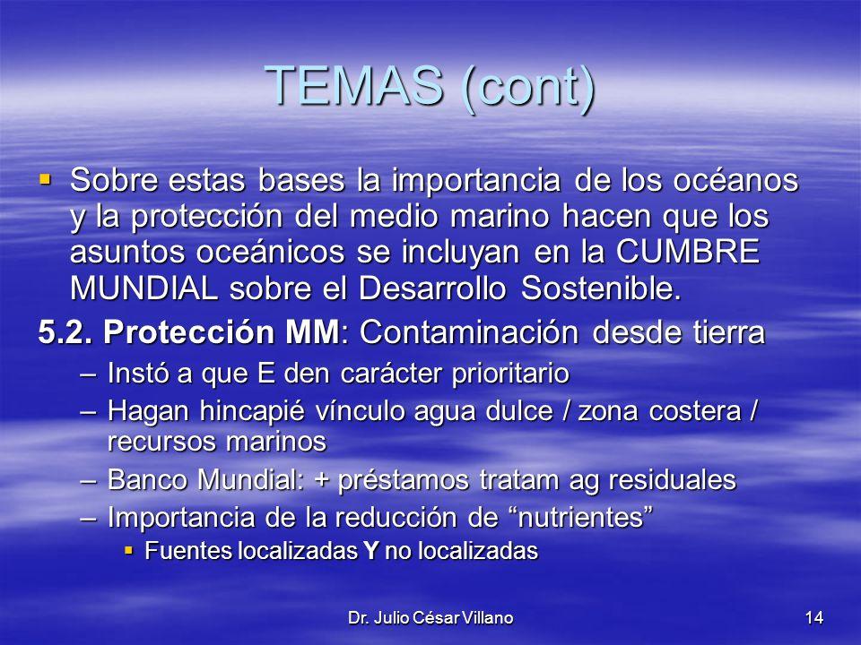 Dr. Julio César Villano14 TEMAS (cont) Sobre estas bases la importancia de los océanos y la protección del medio marino hacen que los asuntos oceánico