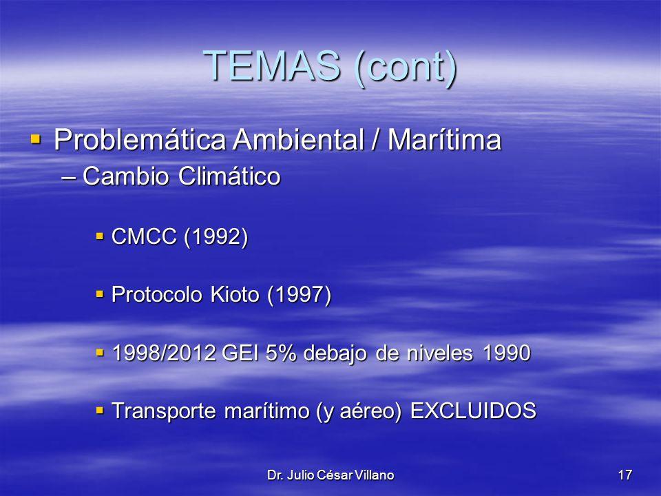 Dr. Julio César Villano17 TEMAS (cont) Problemática Ambiental / Marítima Problemática Ambiental / Marítima –Cambio Climático CMCC (1992) CMCC (1992) P