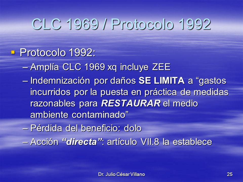 Dr. Julio César Villano25 CLC 1969 / Protocolo 1992 Protocolo 1992: Protocolo 1992: –Amplía CLC 1969 xq incluye ZEE –Indemnización por daños SE LIMITA