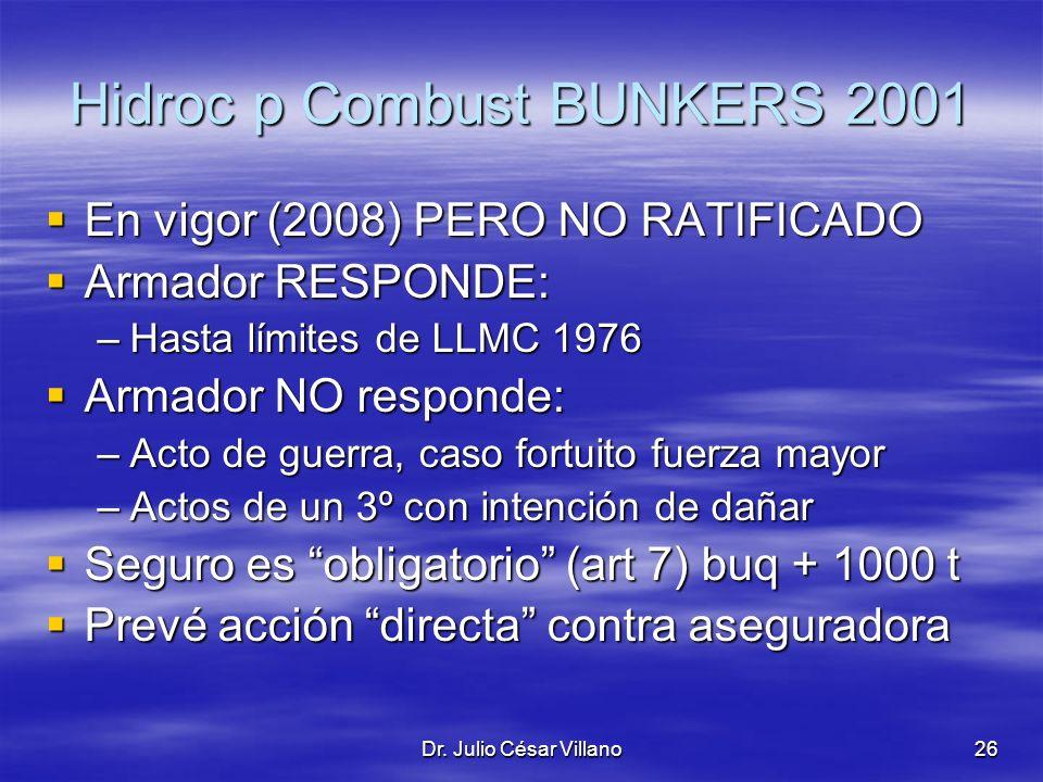 Dr. Julio César Villano26 Hidroc p Combust BUNKERS 2001 En vigor (2008) PERO NO RATIFICADO En vigor (2008) PERO NO RATIFICADO Armador RESPONDE: Armado