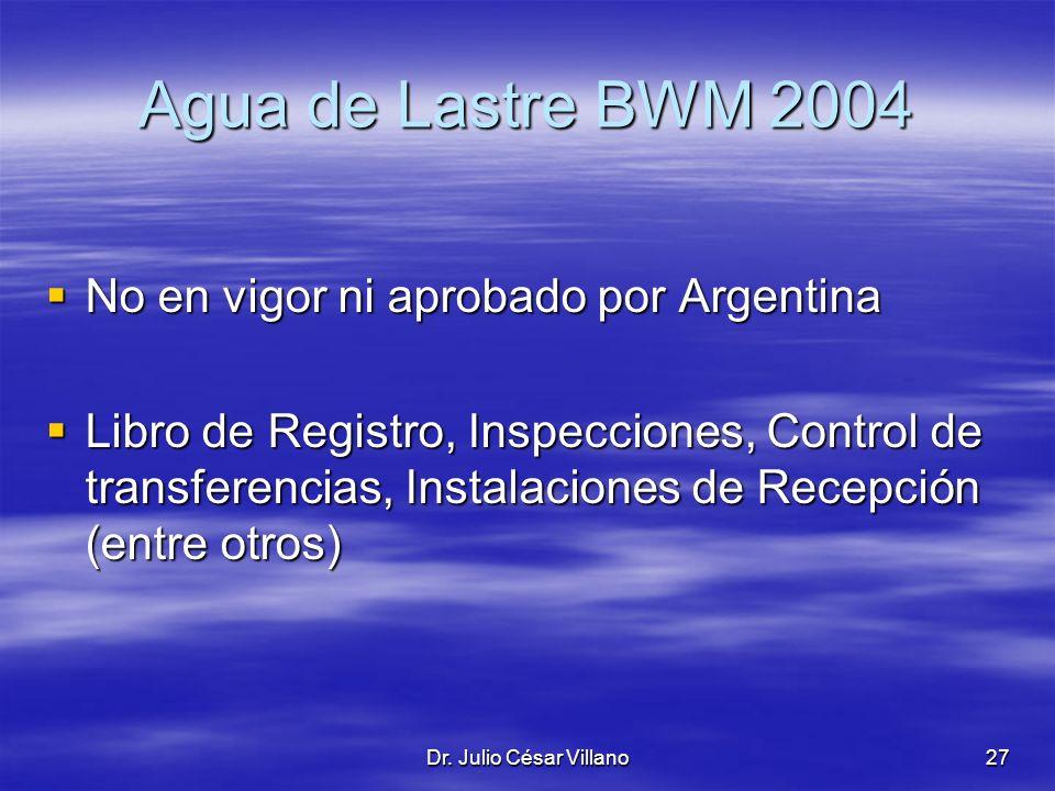 Dr. Julio César Villano27 Agua de Lastre BWM 2004 No en vigor ni aprobado por Argentina No en vigor ni aprobado por Argentina Libro de Registro, Inspe