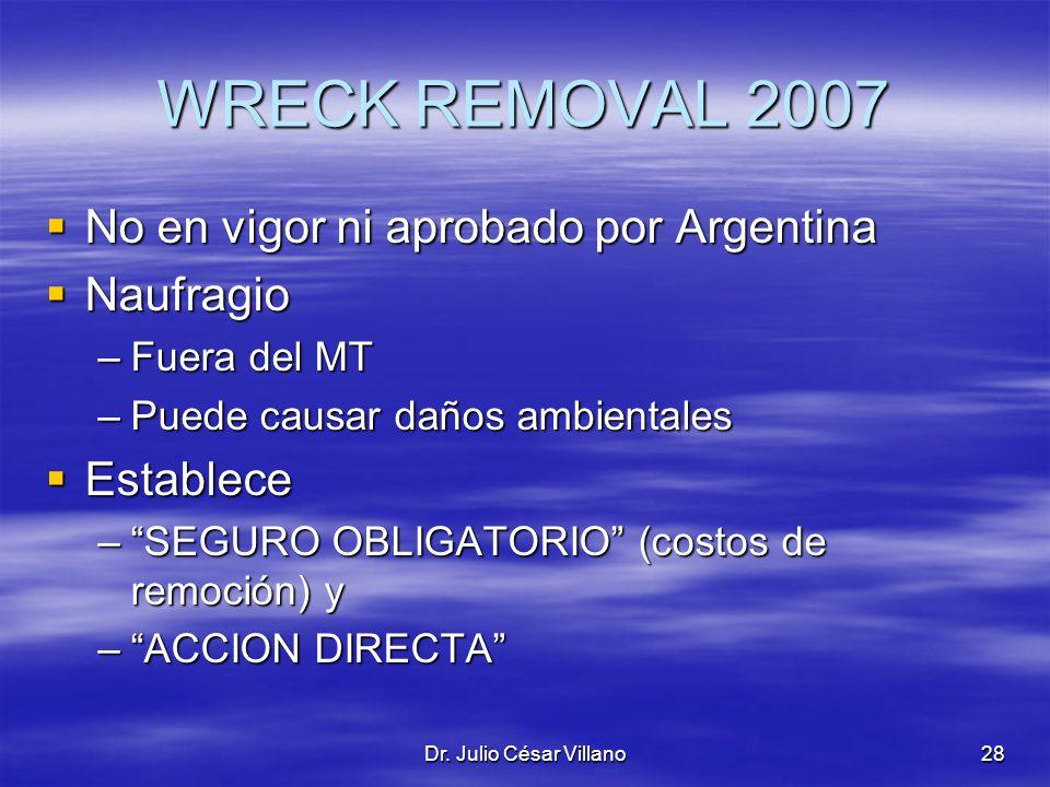 Dr. Julio César Villano28 WRECK REMOVAL 2007 No en vigor ni aprobado por Argentina No en vigor ni aprobado por Argentina Naufragio Naufragio –Fuera de