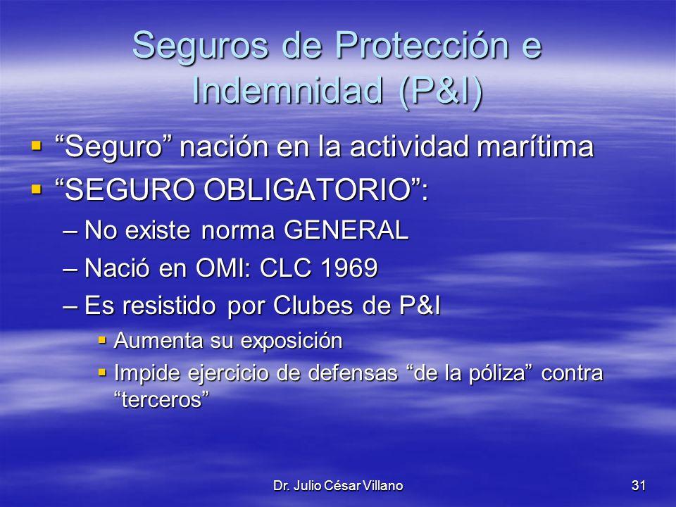 Dr. Julio César Villano31 Seguros de Protección e Indemnidad (P&I) Seguro nación en la actividad marítima Seguro nación en la actividad marítima SEGUR