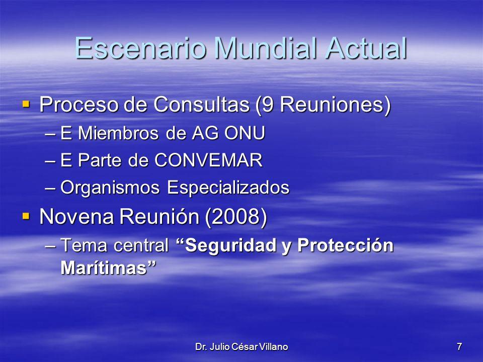 Dr. Julio César Villano7 Escenario Mundial Actual Proceso de Consultas (9 Reuniones) Proceso de Consultas (9 Reuniones) –E Miembros de AG ONU –E Parte