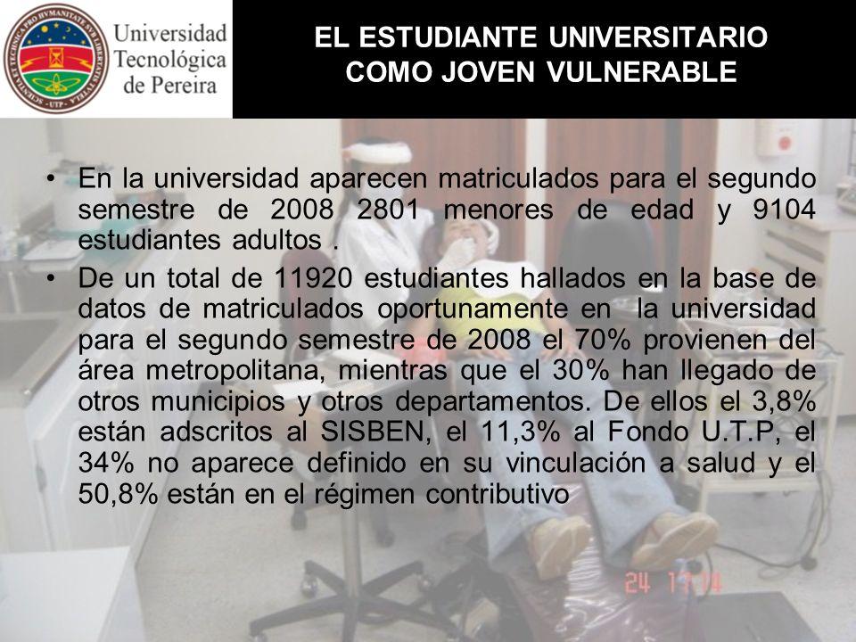 EL ESTUDIANTE UNIVERSITARIO COMO JOVEN VULNERABLE En la universidad aparecen matriculados para el segundo semestre de 2008 2801 menores de edad y 9104