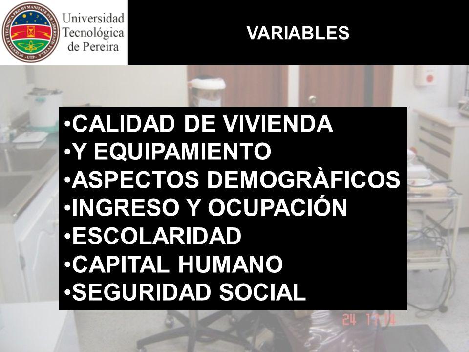 VARIABLES CALIDAD DE VIVIENDA Y EQUIPAMIENTO ASPECTOS DEMOGRÀFICOS INGRESO Y OCUPACIÓN ESCOLARIDAD CAPITAL HUMANO SEGURIDAD SOCIAL