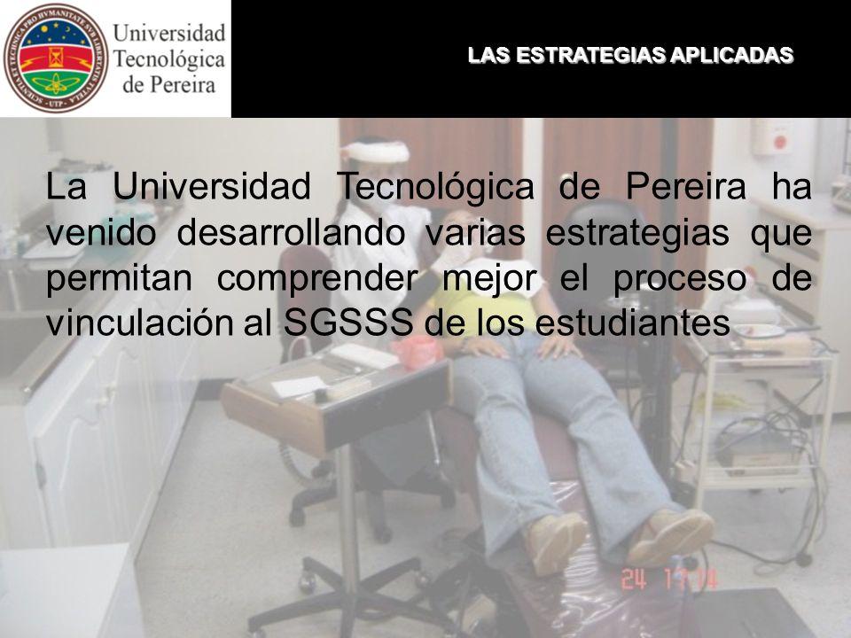 LAS ESTRATEGIAS APLICADAS La Universidad Tecnológica de Pereira ha venido desarrollando varias estrategias que permitan comprender mejor el proceso de