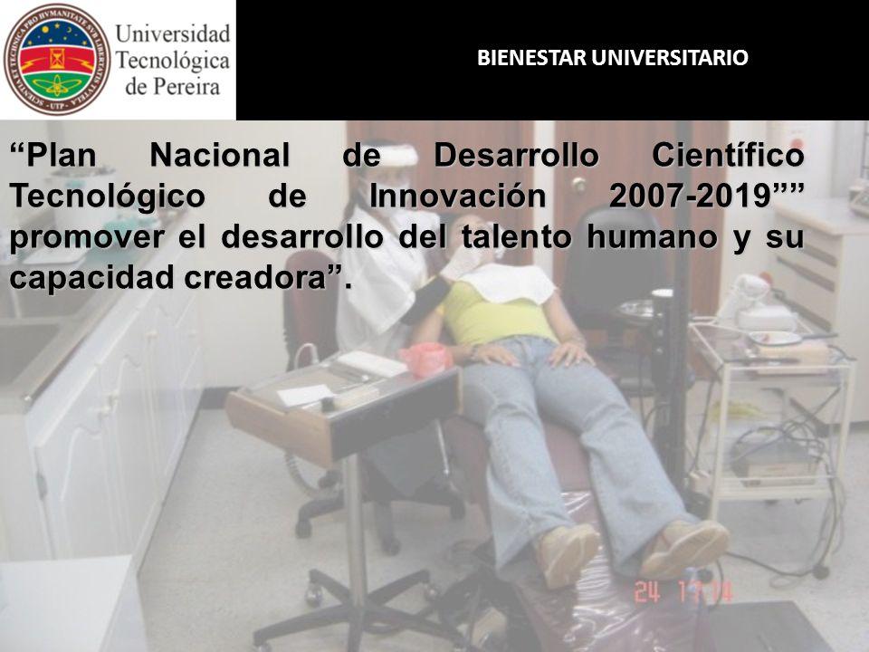 BIENESTAR UNIVERSITARIO Plan Nacional de Desarrollo Científico Tecnológico de Innovación 2007-2019 promover el desarrollo del talento humano y su capa