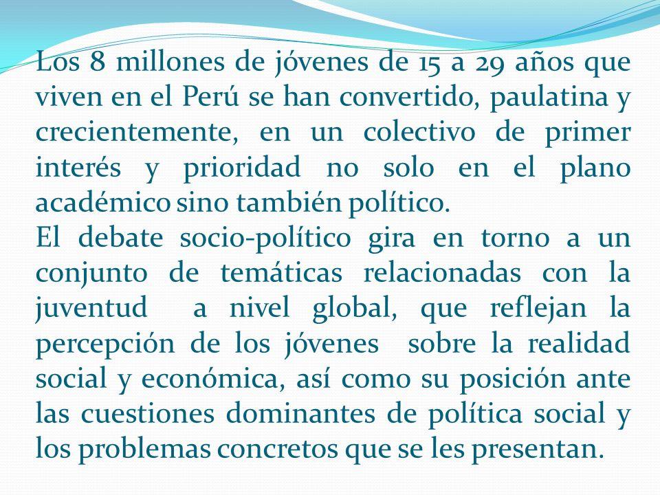 Los 8 millones de jóvenes de 15 a 29 años que viven en el Perú se han convertido, paulatina y crecientemente, en un colectivo de primer interés y prio