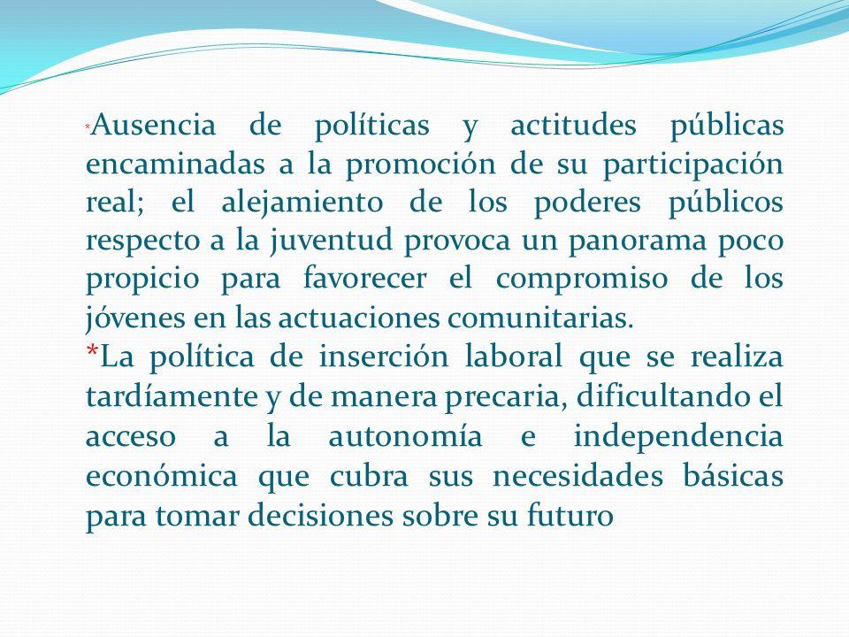 * Ausencia de políticas y actitudes públicas encaminadas a la promoción de su participación real; el alejamiento de los poderes públicos respecto a la