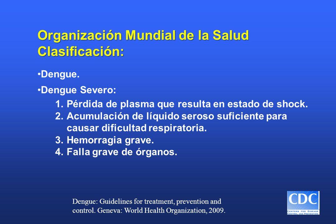 Organización Mundial de la Salud Clasificación: Dengue. Dengue Severo: 1.Pérdida de plasma que resulta en estado de shock. 2.Acumulación de líquido se