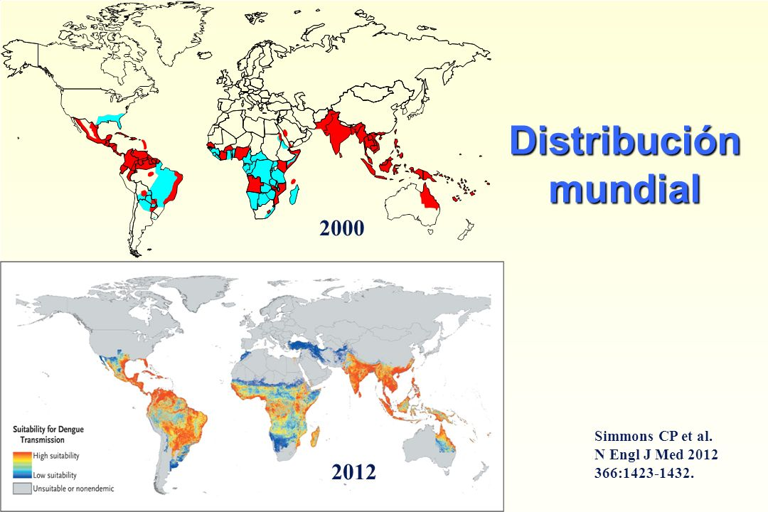 Distribución mundial 2000 2012 Simmons CP et al. N Engl J Med 2012 366:1423-1432.
