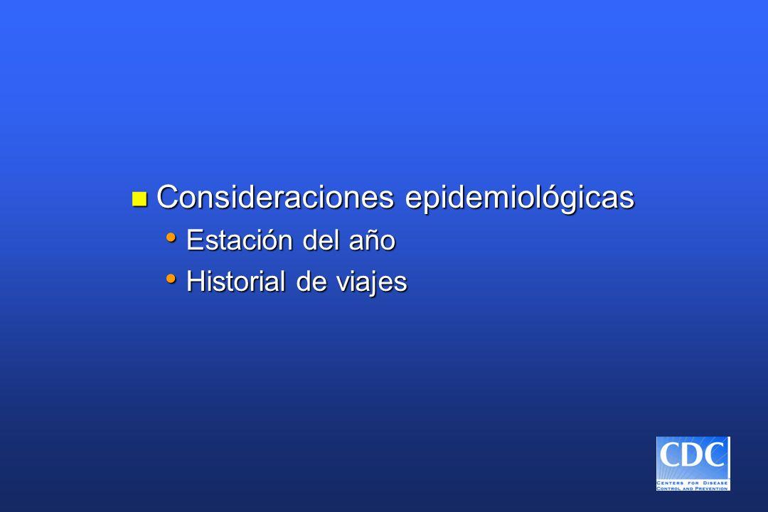 n Consideraciones epidemiológicas Estación del año Estación del año Historial de viajes Historial de viajes