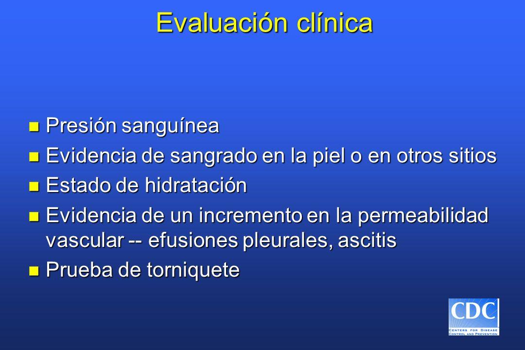 Evaluación clínica n Presión sanguínea n Evidencia de sangrado en la piel o en otros sitios n Estado de hidratación n Evidencia de un incremento en la