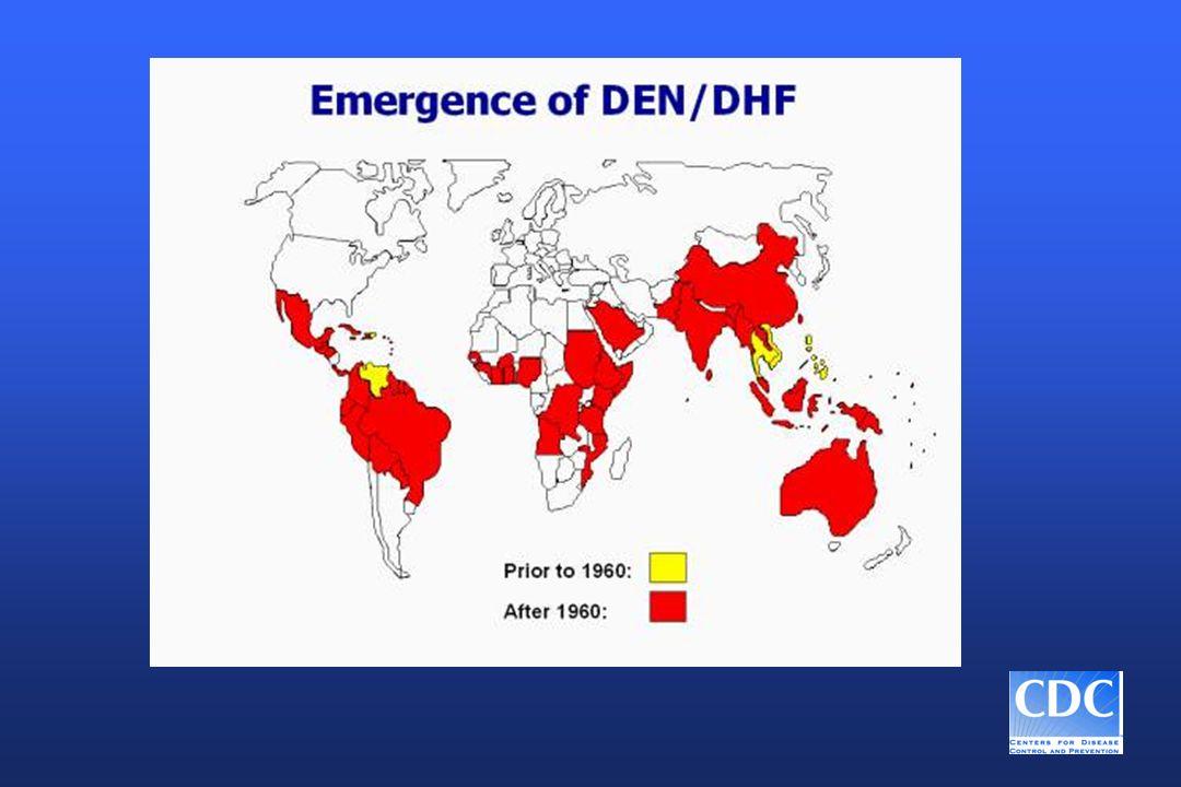 Países americanos con casos de dengue hemorrágico confirmados por laboratorios (áreas sombreadas en rojo) antes de 1981 y entre 1981 y 2003.