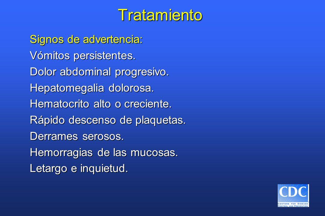Tratamiento Signos de advertencia: Vómitos persistentes. Dolor abdominal progresivo. Hepatomegalia dolorosa. Hematocrito alto o creciente. Rápido desc
