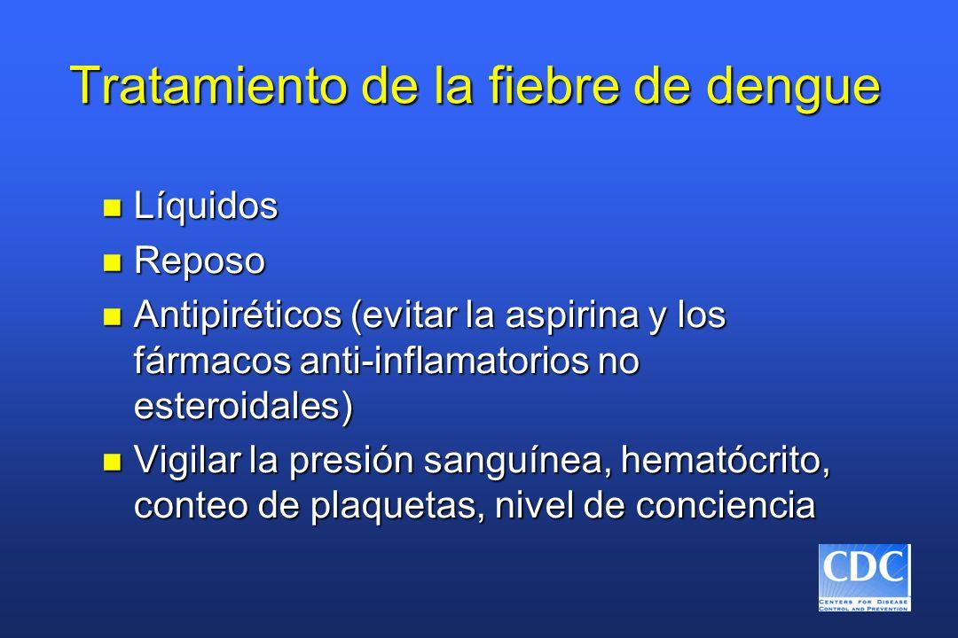 Tratamiento de la fiebre de dengue n Líquidos n Reposo n Antipiréticos (evitar la aspirina y los fármacos anti-inflamatorios no esteroidales) n Vigila