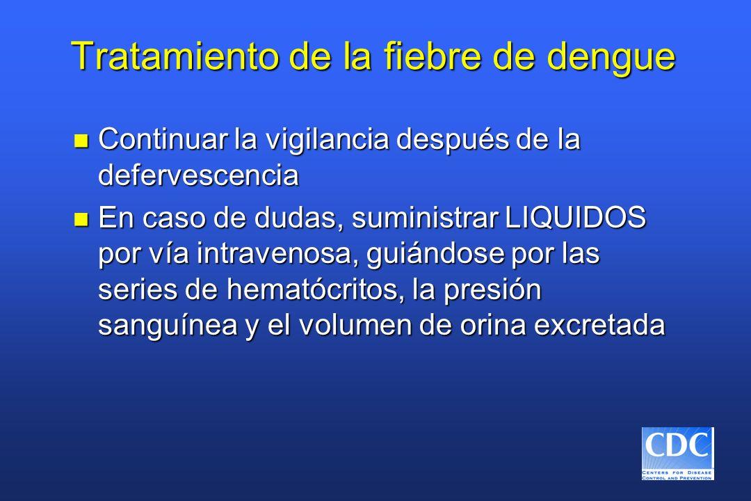 Tratamiento de la fiebre de dengue n Continuar la vigilancia después de la defervescencia n En caso de dudas, suministrar LIQUIDOS por vía intravenosa