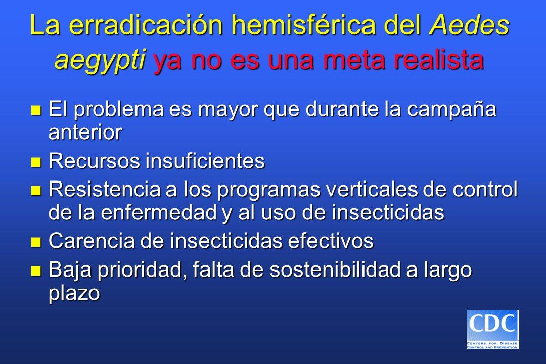 La erradicación hemisférica del Aedes aegypti ya no es una meta realista n El problema es mayor que durante la campaña anterior n Recursos insuficient