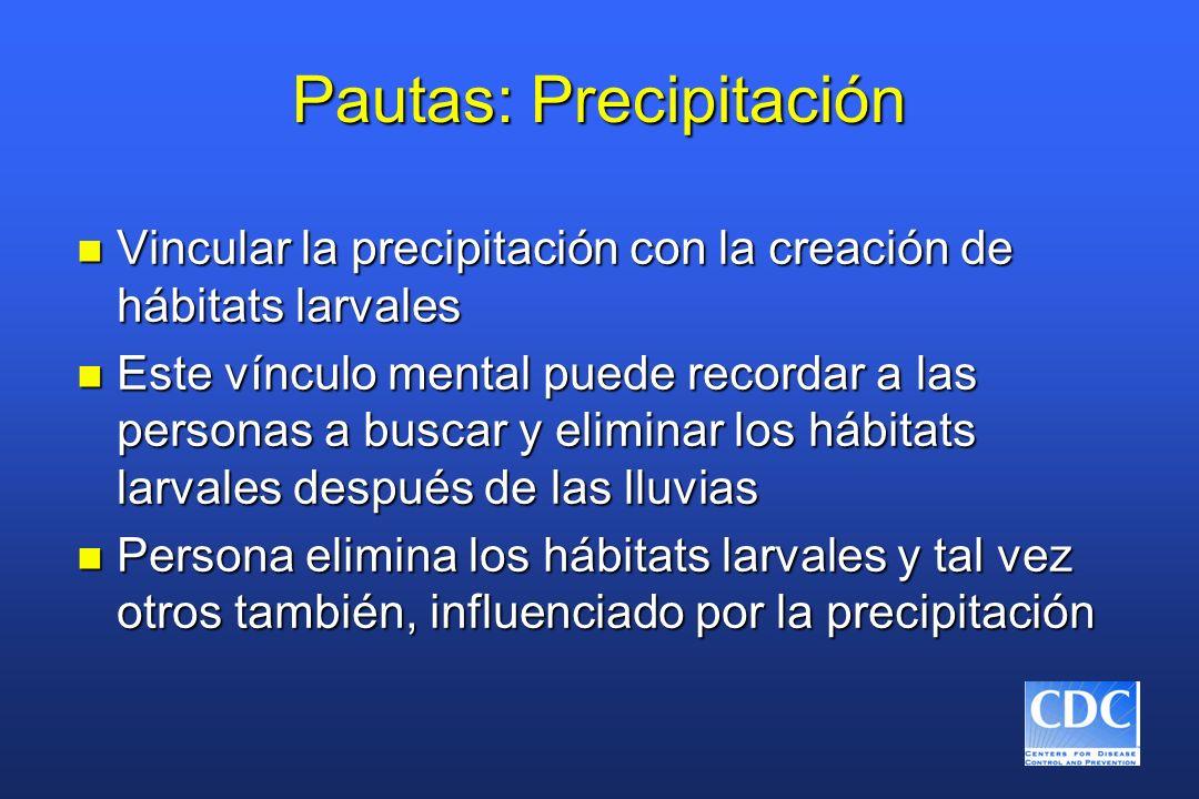 Pautas: Precipitación n Vincular la precipitación con la creación de hábitats larvales n Este vínculo mental puede recordar a las personas a buscar y