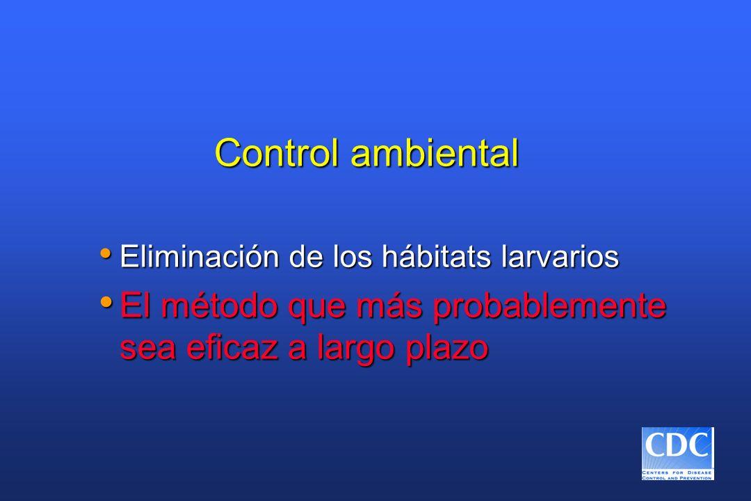 Control ambiental Eliminación de los hábitats larvarios Eliminación de los hábitats larvarios El método que más probablemente sea eficaz a largo plazo
