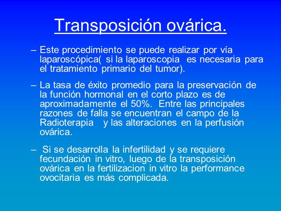 Transposición ovárica. –Este procedimiento se puede realizar por vía laparoscópica( si la laparoscopia es necesaria para el tratamiento primario del t
