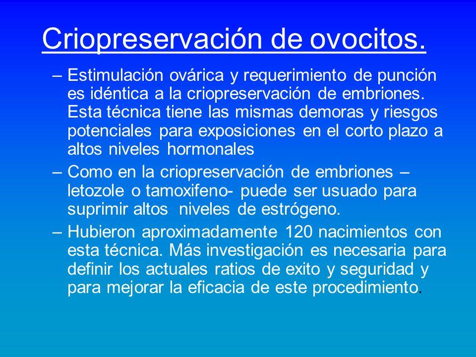 Criopreservación de ovocitos. –Estimulación ovárica y requerimiento de punción es idéntica a la criopreservación de embriones. Esta técnica tiene las