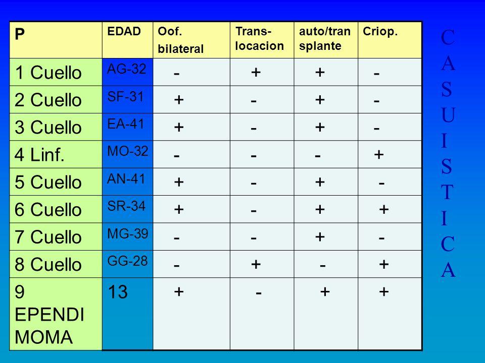 P EDADOof. bilateral Trans- locacion auto/tran splante Criop. 1 Cuello AG-32 - + + - 2 Cuello SF-31 + - + - 3 Cuello EA-41 + - + - 4 Linf. MO-32 - - -