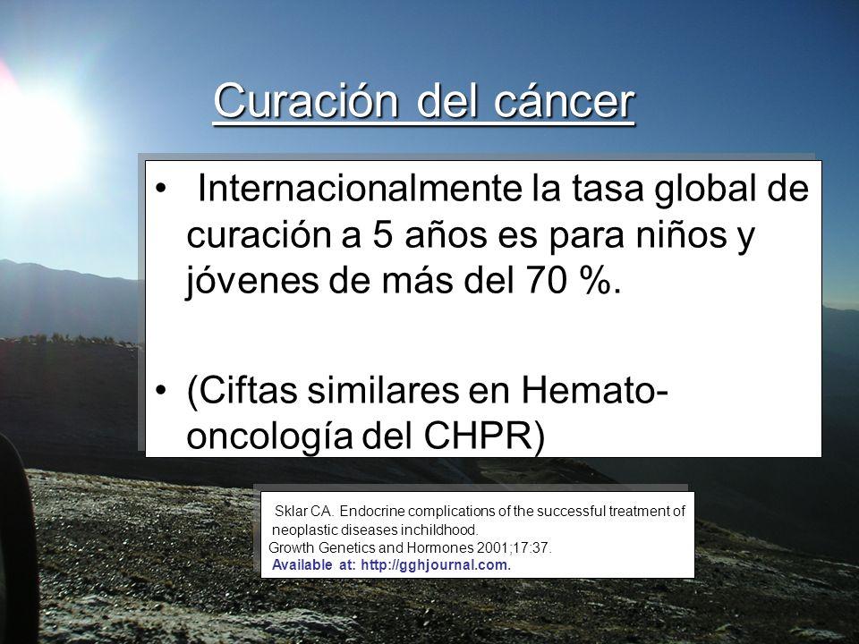 Curación del cáncer Internacionalmente la tasa global de curación a 5 años es para niños y jóvenes de más del 70 %. (Ciftas similares en Hemato- oncol