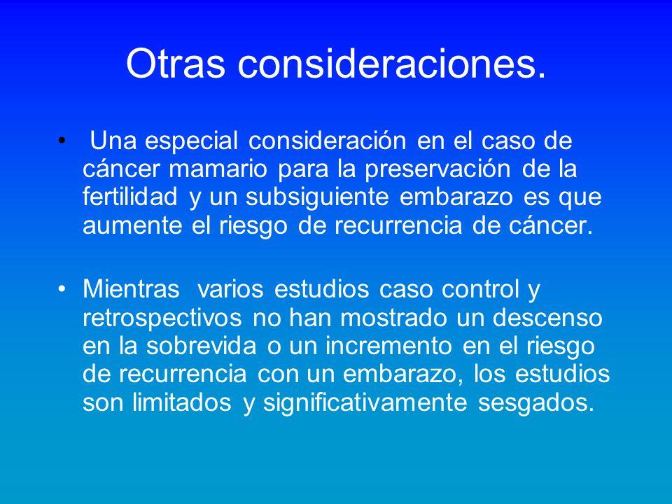 Otras consideraciones. Una especial consideración en el caso de cáncer mamario para la preservación de la fertilidad y un subsiguiente embarazo es que