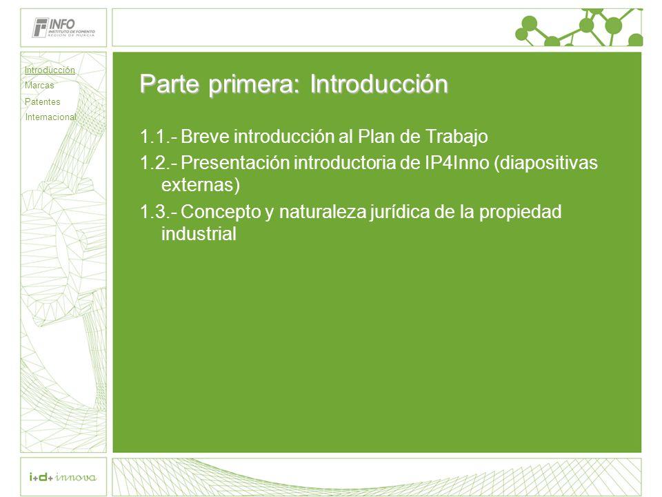 Parte primera: Introducción 1.1.- Breve introducción al Plan de Trabajo 1.2.- Presentación introductoria de IP4Inno (diapositivas externas) 1.3.- Concepto y naturaleza jurídica de la propiedad industrial Introducción Marcas Patentes Internacional