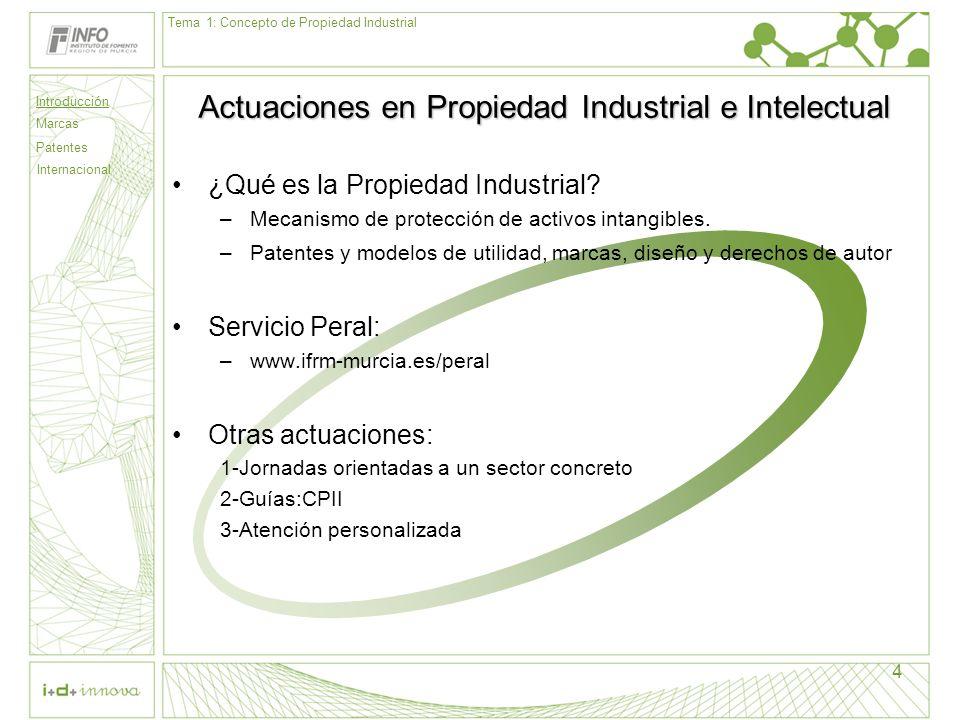 4 Actuaciones en Propiedad Industrial e Intelectual ¿Qué es la Propiedad Industrial? –Mecanismo de protección de activos intangibles. –Patentes y mode