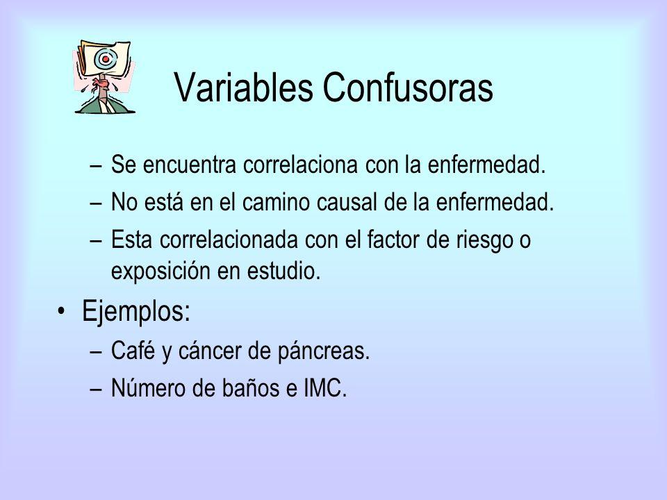 Variables Confusoras –Se encuentra correlaciona con la enfermedad. –No está en el camino causal de la enfermedad. –Esta correlacionada con el factor d