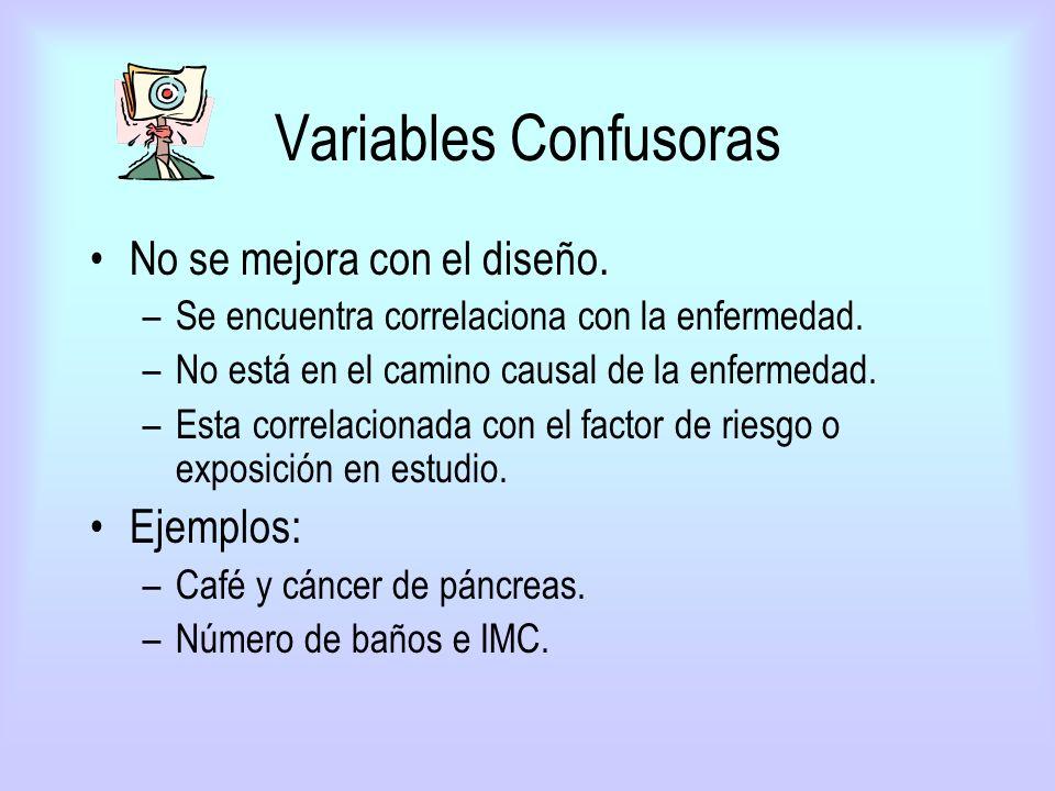 Variables Confusoras No se mejora con el diseño. –Se encuentra correlaciona con la enfermedad. –No está en el camino causal de la enfermedad. –Esta co