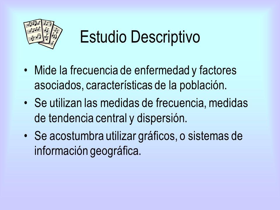 Estudio Descriptivo Mide la frecuencia de enfermedad y factores asociados, características de la población. Se utilizan las medidas de frecuencia, med