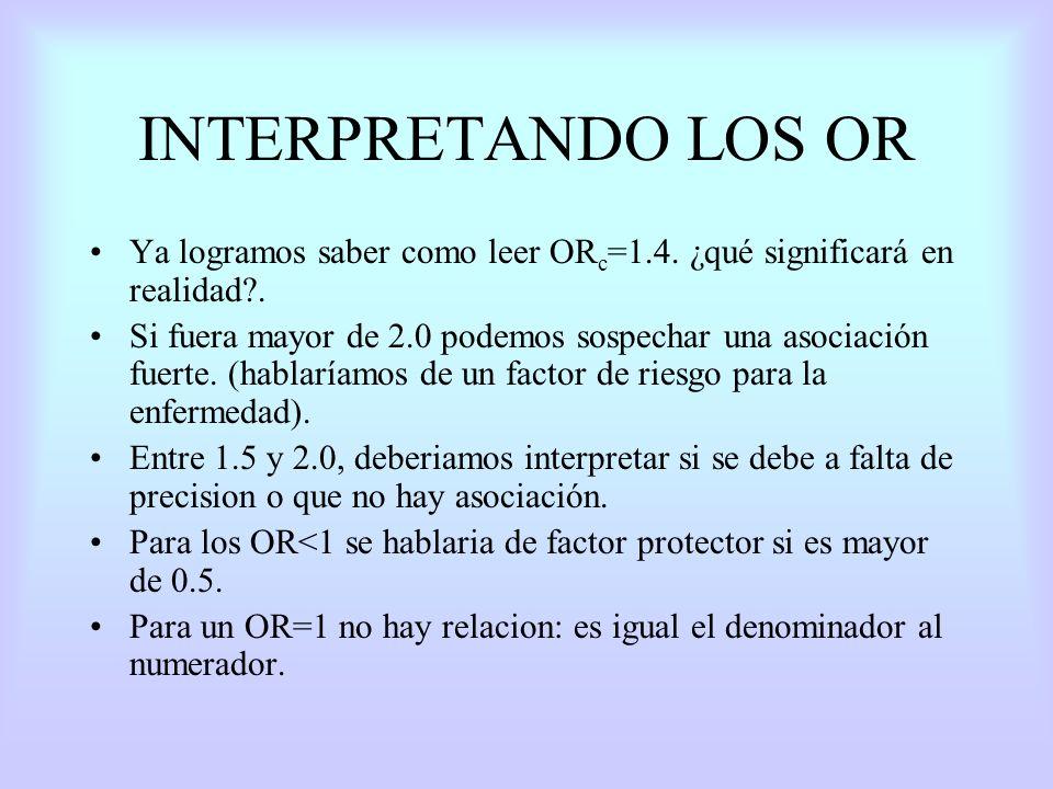 INTERPRETANDO LOS OR Ya logramos saber como leer OR c =1.4. ¿qué significará en realidad?. Si fuera mayor de 2.0 podemos sospechar una asociación fuer