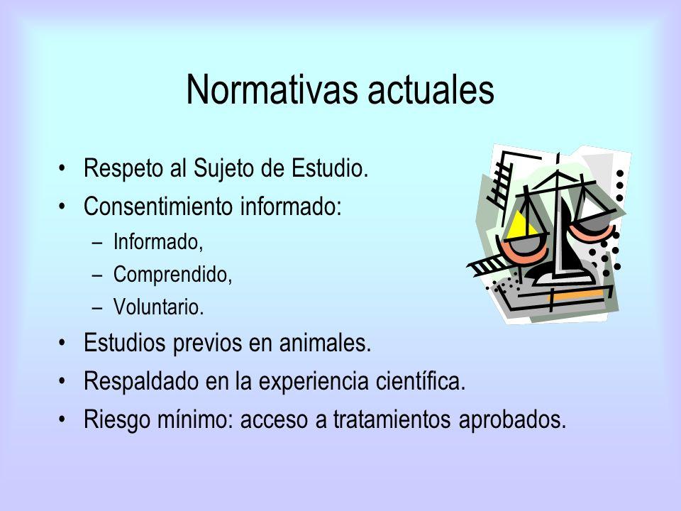 Normativas actuales Respeto al Sujeto de Estudio. Consentimiento informado: –Informado, –Comprendido, –Voluntario. Estudios previos en animales. Respa
