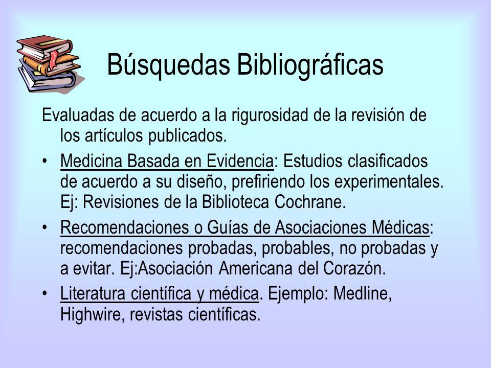 Búsquedas Bibliográficas Evaluadas de acuerdo a la rigurosidad de la revisión de los artículos publicados. Medicina Basada en Evidencia: Estudios clas