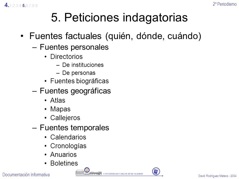 2º Periodismo Documentación Informativa David Rodríguez Mateos - 2004 5. Peticiones indagatorias Fuentes factuales (quién, dónde, cuándo) –Fuentes per