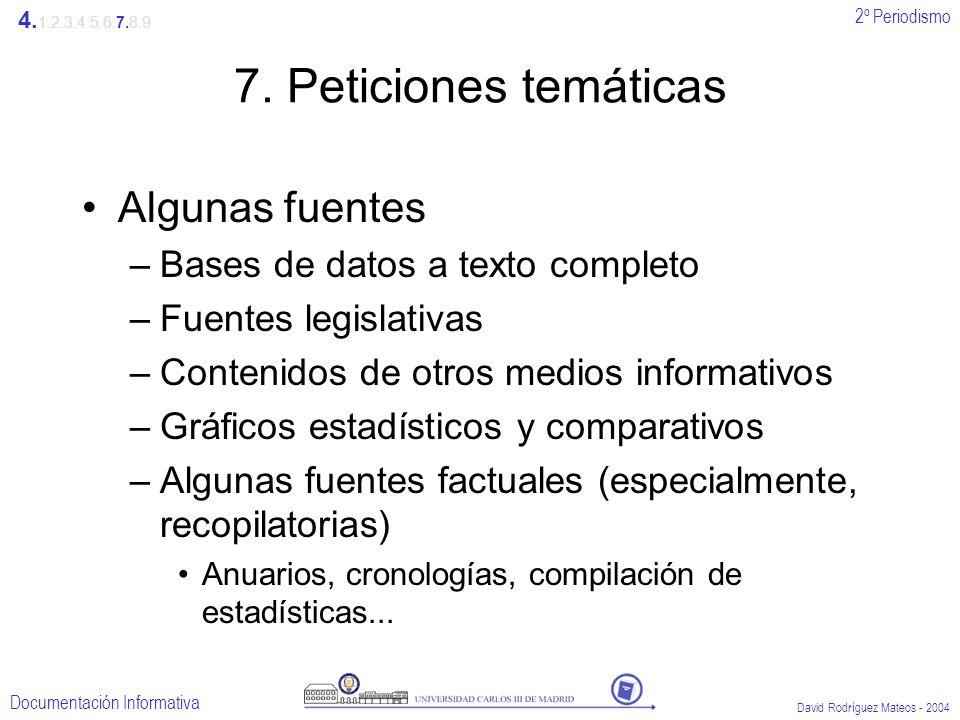 2º Periodismo Documentación Informativa David Rodríguez Mateos - 2004 7. Peticiones temáticas Algunas fuentes –Bases de datos a texto completo –Fuente
