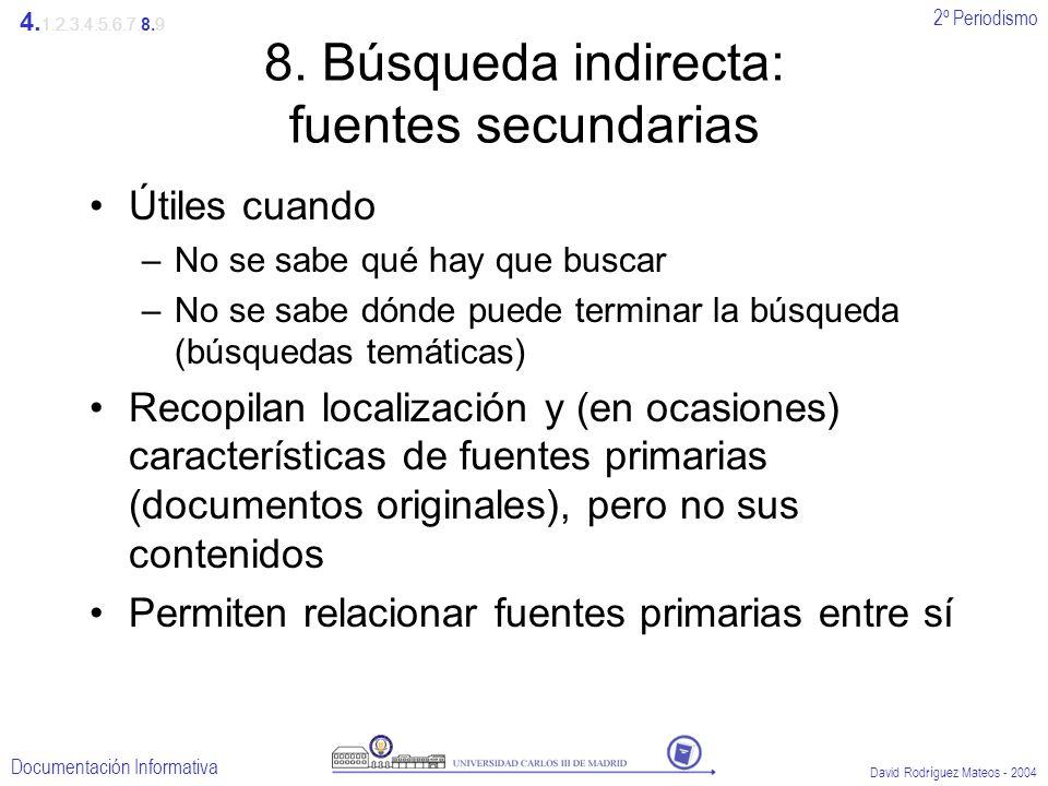 2º Periodismo Documentación Informativa David Rodríguez Mateos - 2004 8. Búsqueda indirecta: fuentes secundarias Útiles cuando –No se sabe qué hay que