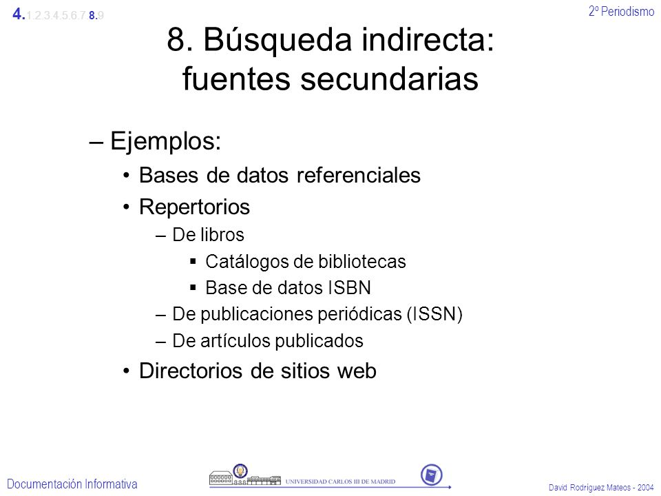 2º Periodismo Documentación Informativa David Rodríguez Mateos - 2004 8. Búsqueda indirecta: fuentes secundarias –Ejemplos: Bases de datos referencial