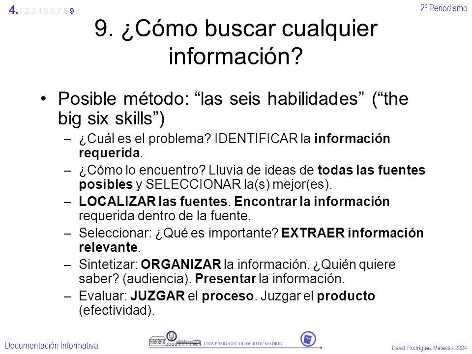 2º Periodismo Documentación Informativa David Rodríguez Mateos - 2004 9. ¿Cómo buscar cualquier información? Posible método: las seis habilidades (the