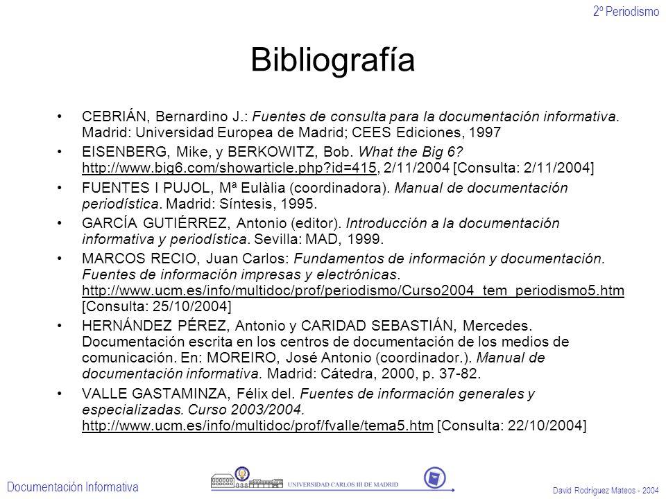 2º Periodismo Documentación Informativa David Rodríguez Mateos - 2004 Bibliografía CEBRIÁN, Bernardino J.: Fuentes de consulta para la documentación i