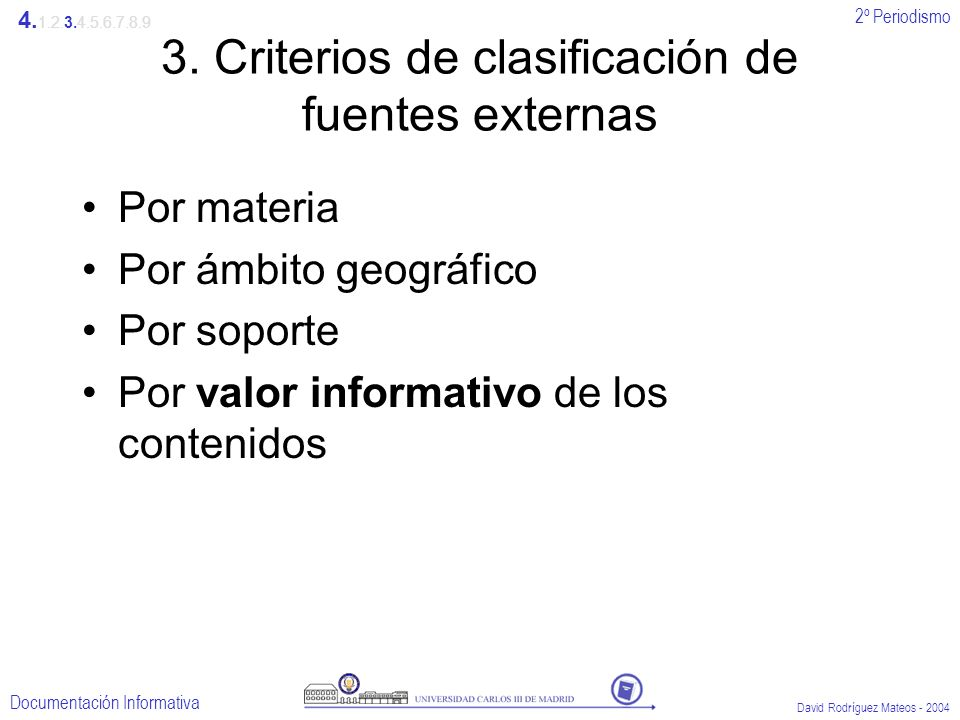 2º Periodismo Documentación Informativa David Rodríguez Mateos - 2004 3. Criterios de clasificación de fuentes externas Por materia Por ámbito geográf