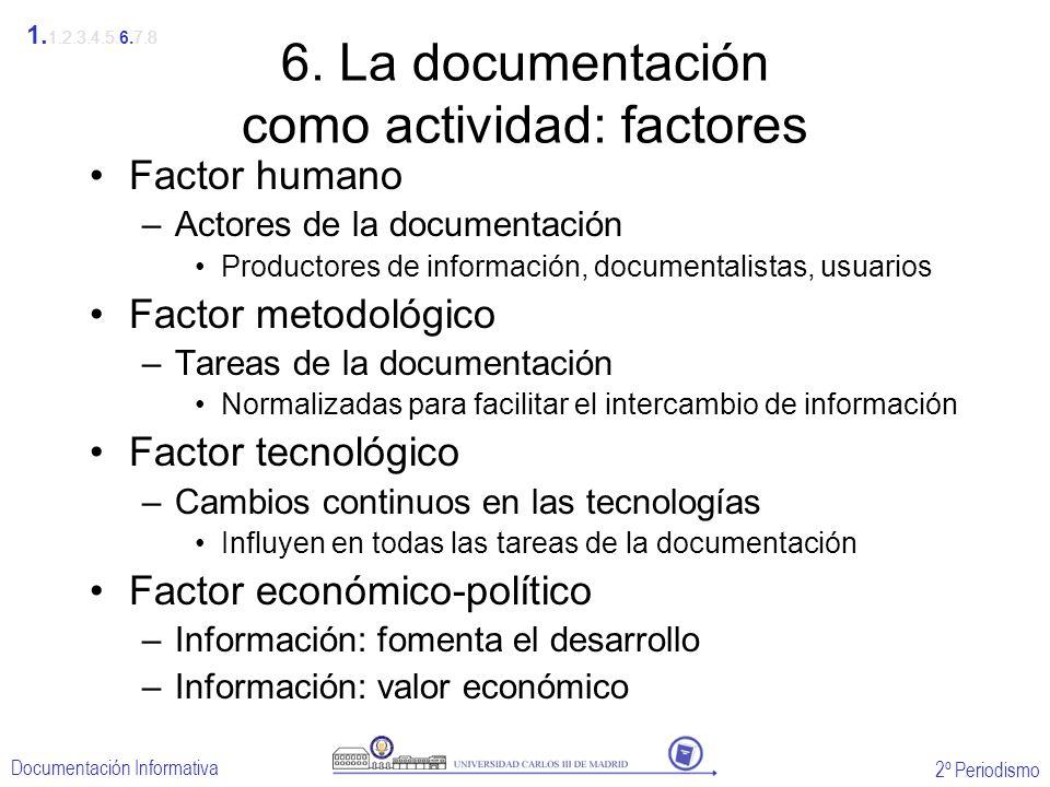 2º Periodismo Documentación Informativa 6. La documentación como actividad: factores Factor humano –Actores de la documentación Productores de informa